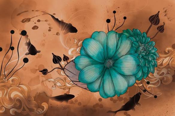 Toile fleur anémone magique marron
