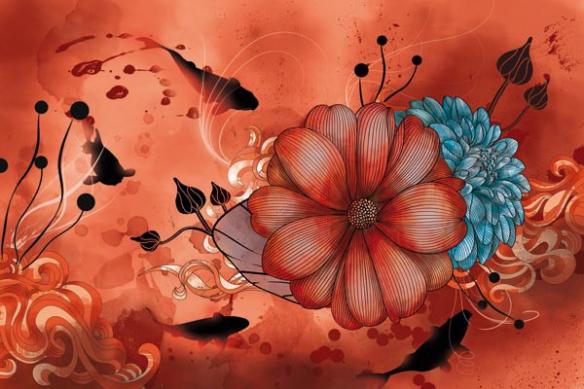grande Toile fleur anémone orange