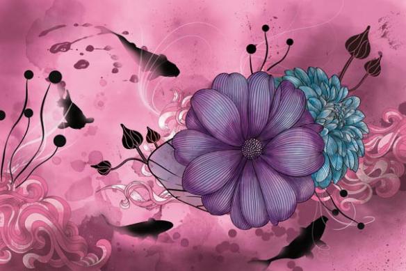 Toile décoration fleur anémone carpes