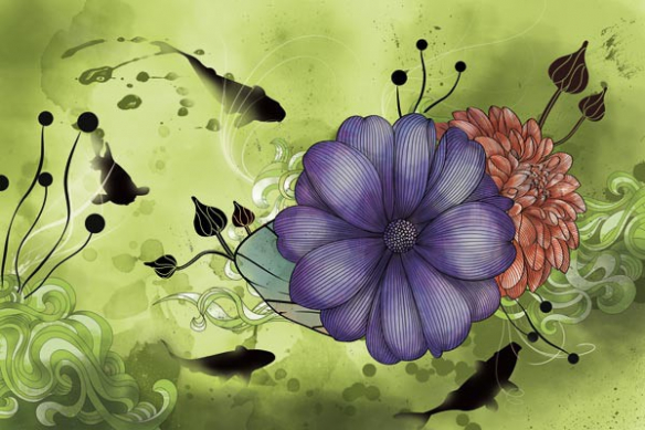 Toile fleur grand format anémone vert