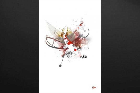 Tableau déco zen Carpe Koi par Mathieu Gazaix