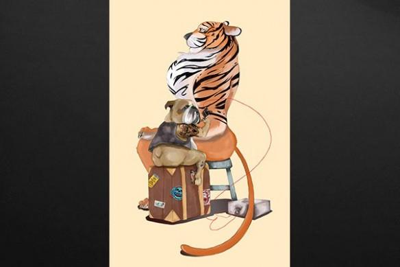 Tableau bulldog Tatoueur tigre