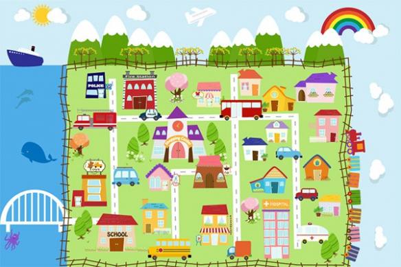 Papier peint enfant Ma ville