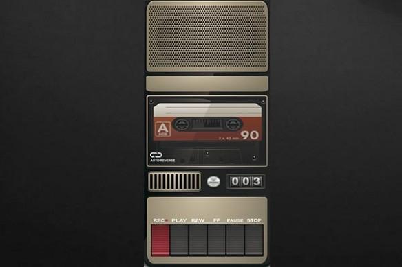 Sticker porte Magnétophone rétro