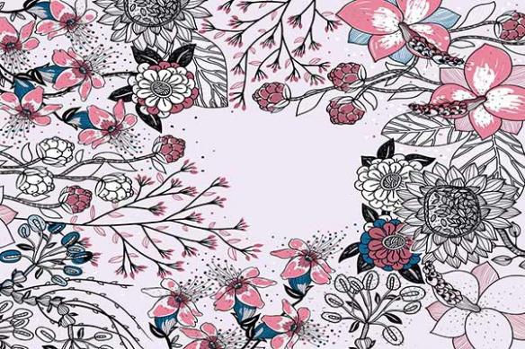 Papier peint déco Eclosion graphique rose