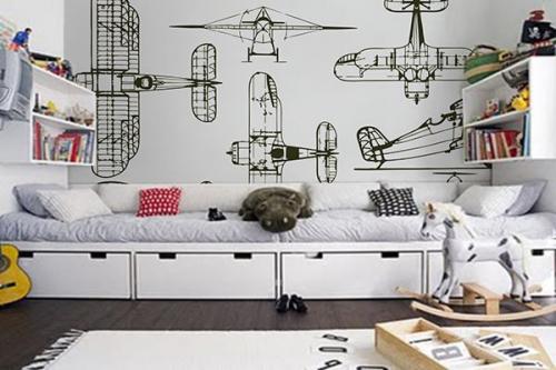 Papier peint décoration Avions