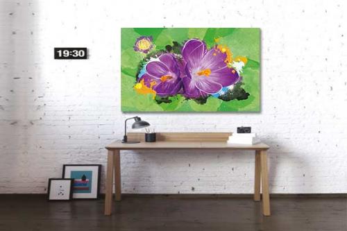 Tableau déco salon avec une fleur magenta