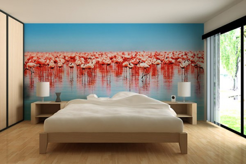 papier peint photo flamants roses izoa. Black Bedroom Furniture Sets. Home Design Ideas