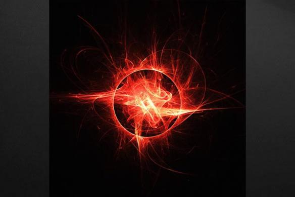 Tableau abstrait Eruption Solaire