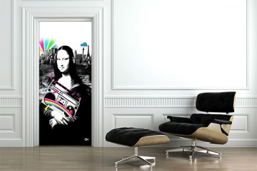 Sticker Porte decoration Mona Lisa par Mathieu Gazaix