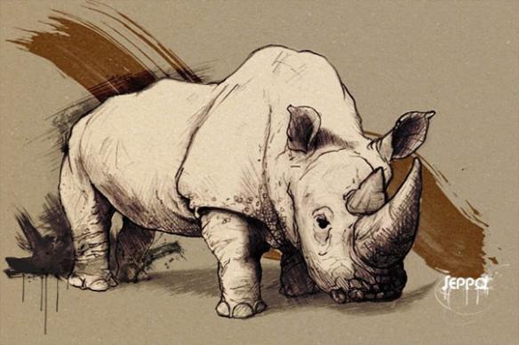 Tableau décoration Rhinocéros marron