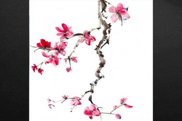 éclat rouge toile estampe fleur bonsaï