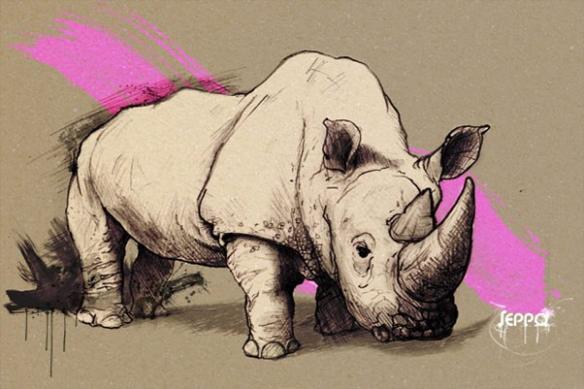 toile mural déco Rhinocéros rose