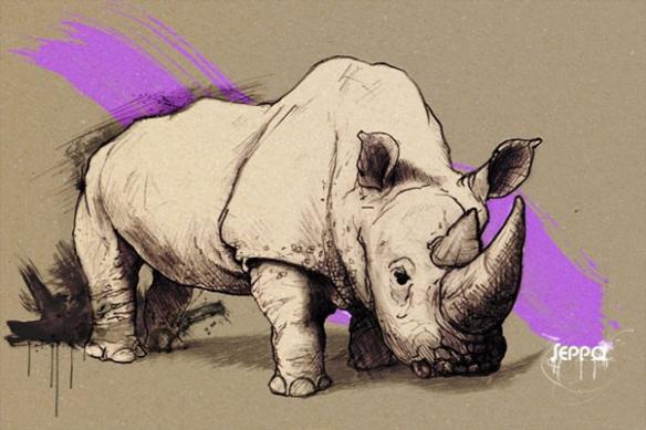 tableaux contemporains rhinocéros violet