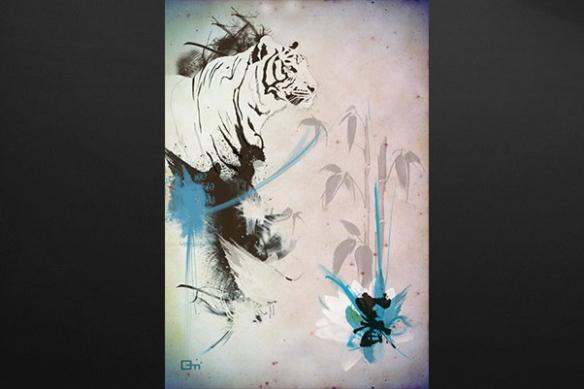 Tableau Tigre salon mural