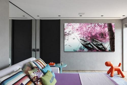 Tableau décoration rive de cerisiers