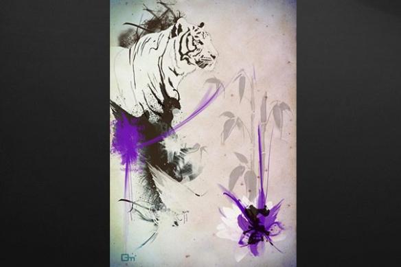 Tableau moderne deco Tigre violet