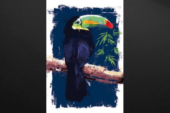 Tableau aquarelle Toucan bleu