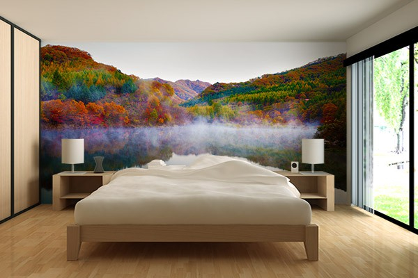 papier peint chambre foret en automne izoa. Black Bedroom Furniture Sets. Home Design Ideas