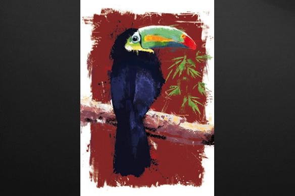 Tableau peinture Toucan rouge