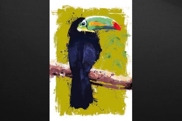 toile peinture Toucan vert
