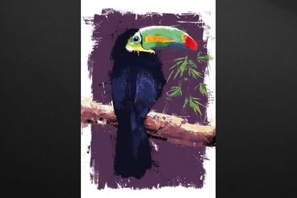 peinture mural déco Toucan violet