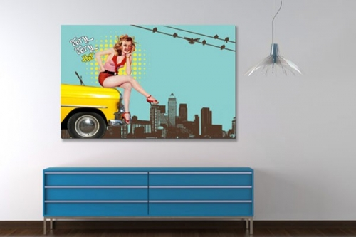 Tableau  decoration taxi pin up
