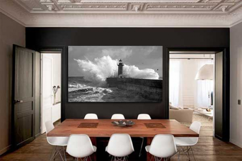 tableau photo noir et blanc phare marin izoa. Black Bedroom Furniture Sets. Home Design Ideas