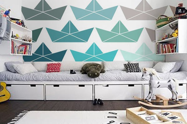 papier peint g om trique pliage b teau izoa. Black Bedroom Furniture Sets. Home Design Ideas