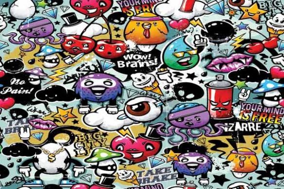 Papier Peint poster design graffiti personnages