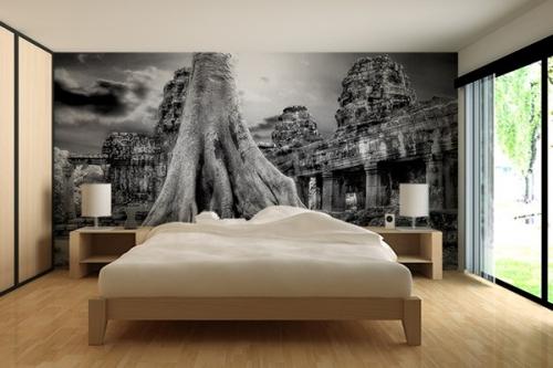papier peint noir et blanc izoa. Black Bedroom Furniture Sets. Home Design Ideas