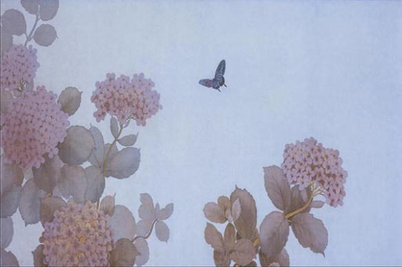 Tableau paysage estampe papillon fleur Miracle