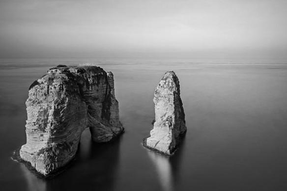Tableau paysage mer noir et blanc