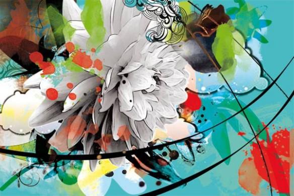 Tableau moderne fleur contemporain