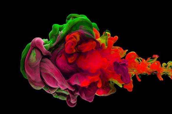 Tableau abstrait tache d'encre rouge