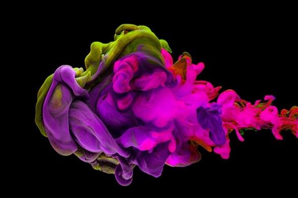 toile xxl tache d'encre rose