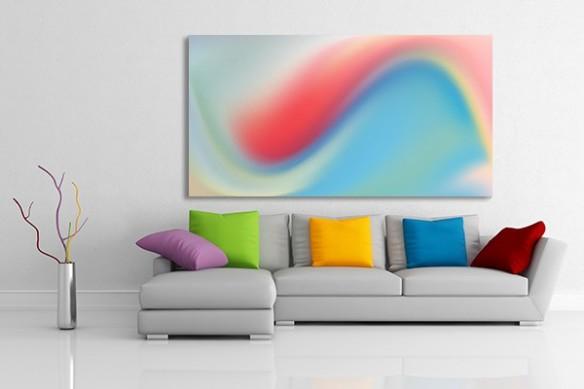 Tableau design salon vague de couleur