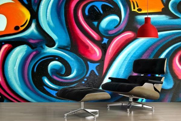 papier peint design graffiti. Black Bedroom Furniture Sets. Home Design Ideas