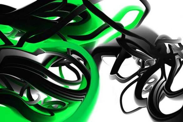 toile abstraite design Trix vert