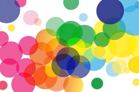 cercles de couleurs acidulés
