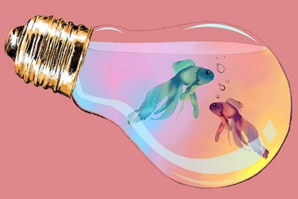 Tableau mural deco ampoule poisson