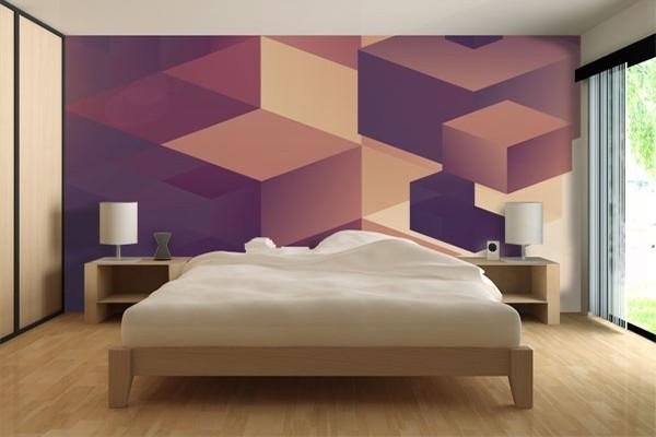 papier peint mur rubicube. Black Bedroom Furniture Sets. Home Design Ideas