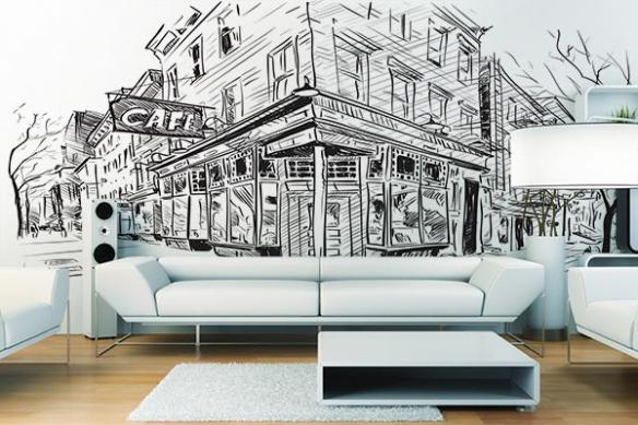 Papier peint mur Café