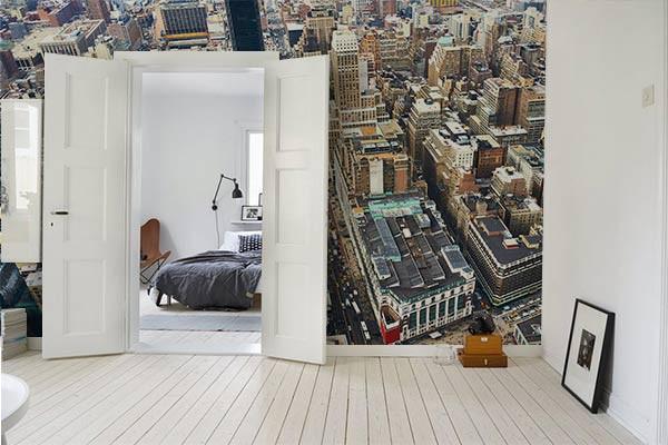 papier peint new york au dessus de manhattan izoa. Black Bedroom Furniture Sets. Home Design Ideas