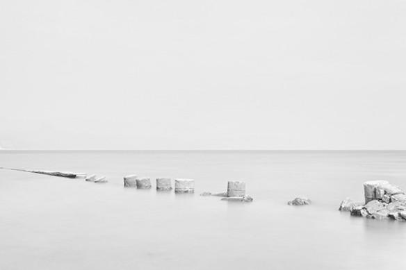 Rondins bois mer gelée