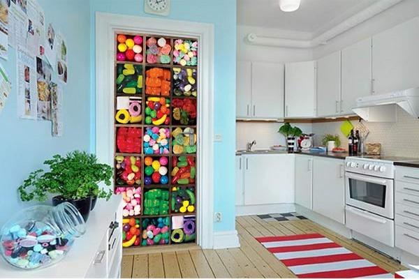 sticker porte d co bonbons izoa. Black Bedroom Furniture Sets. Home Design Ideas