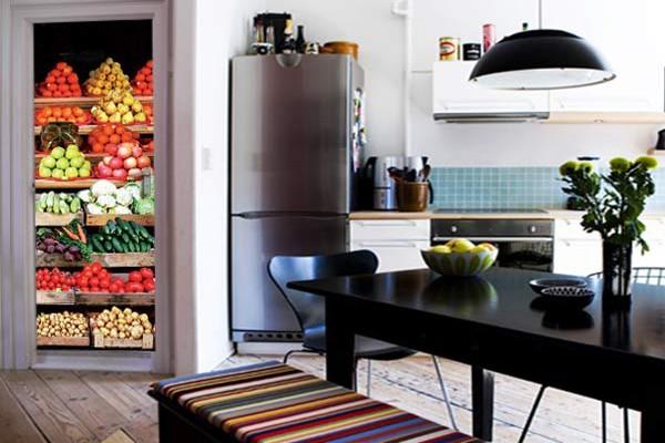 sticker pour cuisine avec un trompe l 39 oeil autocollant. Black Bedroom Furniture Sets. Home Design Ideas