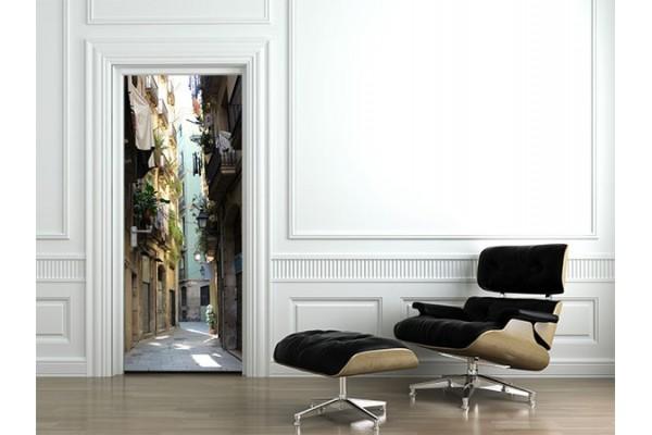 sticker porte photo ruelle izoa. Black Bedroom Furniture Sets. Home Design Ideas