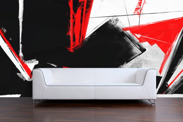 Papier Peint Design Rouge Et Noir Izoa