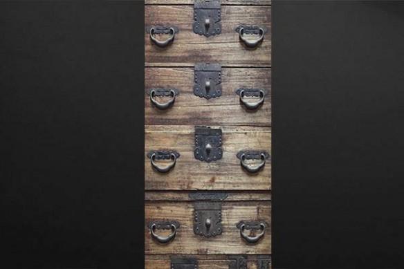Sticker porte Tiroirs en bois